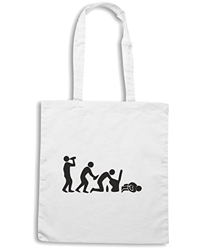 T-Shirtshock - Borsa Shopping BEER0225 Hangover-Evolution-Magliette Bianco