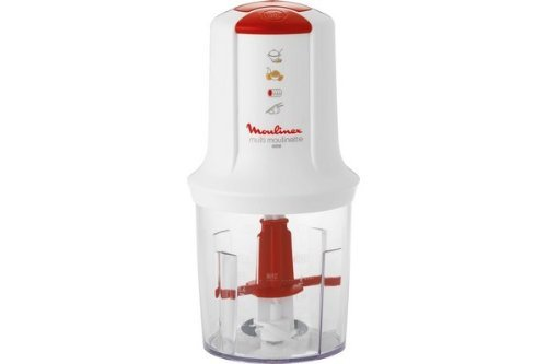 Moulinex AT710131 Mini Hachoir Électrique Multi Moulinette 3 en 1 Hacher Mixer Emulsionner Mayonnaise Viande Légumes Herbes Epices Fruits Secs 2 Vitesses 400W Blanc