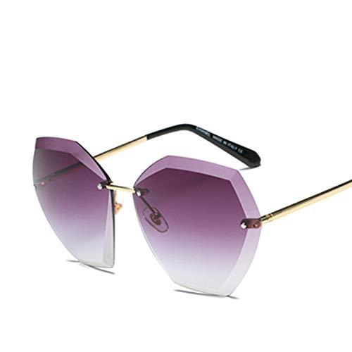 Yangjing-hl Rahmen-Steigungsblau der koreanischen Modesonnenbrille weibliches rahmenloses Zutatstraßenschießen wildes Rahmen-Steigungsblau der Sonnenbrille C Gold