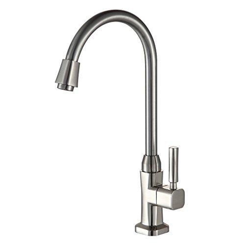 Preisvergleich Produktbild Auralum® Gebürstete Kaltwasser Armatur Wasserhahn Spültisch Waschtischarmatur mit hohem Auslauf für Spüle Küchen Bad Waschbecken