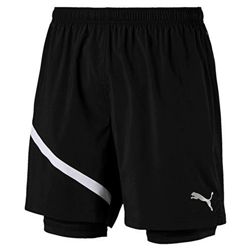 PUMA Ignite Herren Gewebte 2 in 1 Running Shorts Puma Black-Puma White L