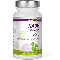 NADH 20mg - 60 magensaftresistente Kapseln - Coenzym 1 - Premium Qualität - Made in Germany