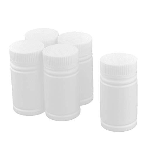 Vektenxi 5 STÜCKE Kunststoff Medizin Flasche Vorratsbehälter Tragbare Pille Fall Halter Ideal für Vitamine, Pillen, Kapseln Drogen Und Mehr Weiß 100 ml - Kunststoff Medizin-flaschen