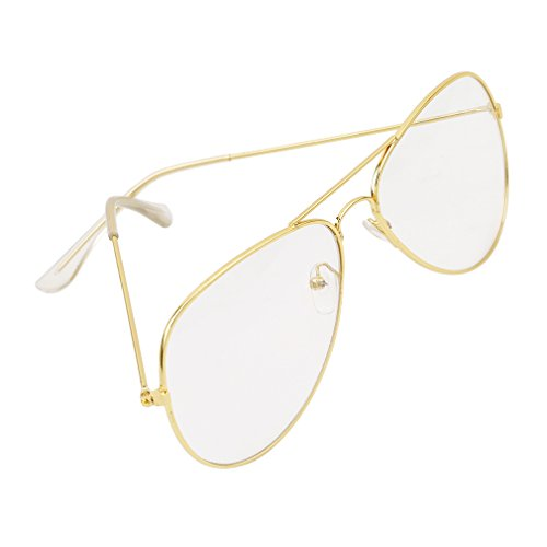 hengsong-unisex-vintage-aviator-style-glasses-metal-frame-clear-lens-glass-geek-glasses-gold