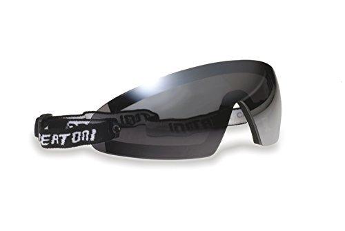 Winddichte Sportbrille Schutzbrille für Brillenträger mit Sehstärke - Skifahren - Reiten - Motorradfahrer - Fallschirmspringen - Abnehmbarer Optischer Einsätze - by bertoni - AF79 (Dunkle Linse)
