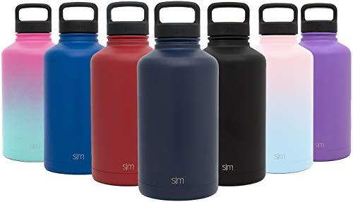 fel Wasserflasche + Extra Deckel - Vakuum isolierter Edelstahl, kann als Reisebecher verwendet werden - Pulver beschichtete doppelwandige Flasche, Deep Ocean Blue, 1900 ml ()