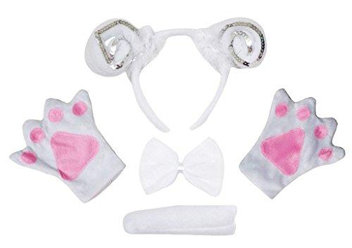 Petitebelle Stirnband Bowtie Schwanz Handschuhe 4pc Kostüm Einheitsgröße Weiß Silber Schaf Ziege