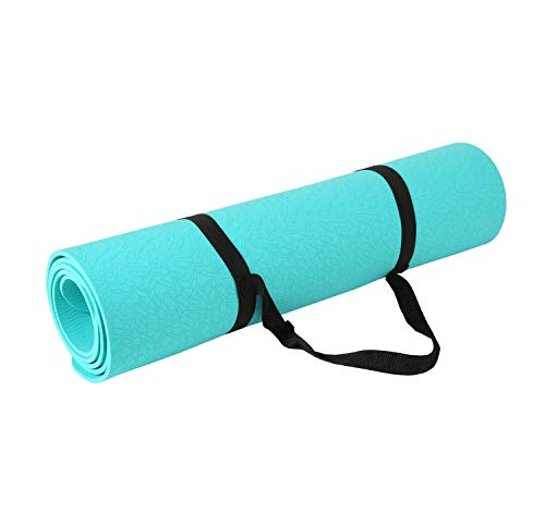 Exerz extpe-tur yoga e tappetino da palestra con una cinghia per il trasporto - 183 x 61 cm / 6 mm - alta densità/antiscivolo/pilates/leggero/effetto ghiaia superficie progettata - turchese