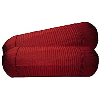 Home Shine Polydupion Quilting Stripes Bolster Covers (Red)
