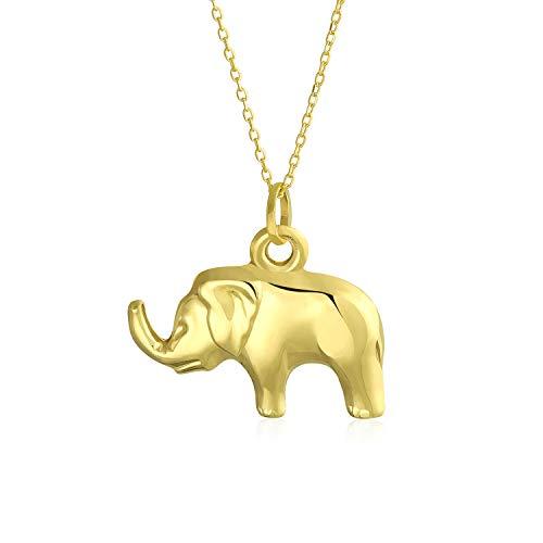 14K Gelb Gold glänzend poliert Lucky Elephant Anhänger Halskette für Frauen Männer 18 Zoll Gold Kette - Winzige Gold-charme-halskette
