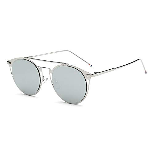 MOJINGYAN Sonnenbrillen,Vintage Colorfull Metall Sonnenbrillen Mode Thom Browne Sonnenbrille Männer Marke Sonnenbrille Box Frauen Sliver Quecksilber