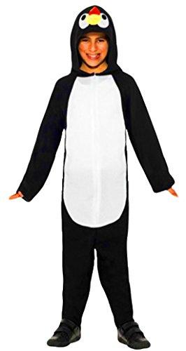 erdbeerloft - Kinder Pinguin Overall Kostüm Plüschkostüm, schwarz weiß, 5-8 (Für Kostüm Antarktis Kinder)