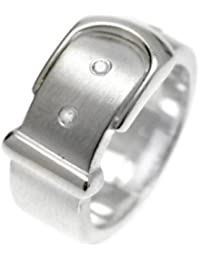 White Ice London Silver Ring with Diamonds DR045 Matt Buckle Ring with Diamonds