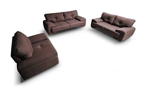 mb-moebel Polstergarnitur Sofa Set 3er & 2er & Sessel 3-2-1 Wohnlandschaft 3-Sitzer und 2-Sitzer Möbel Set - ENZO (Braun) -
