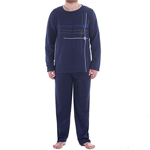LUCKY Thermo Pyjama Herren Rundhals Schlafanzug Winter Warm, Farbe:Navy, Größe:2XL