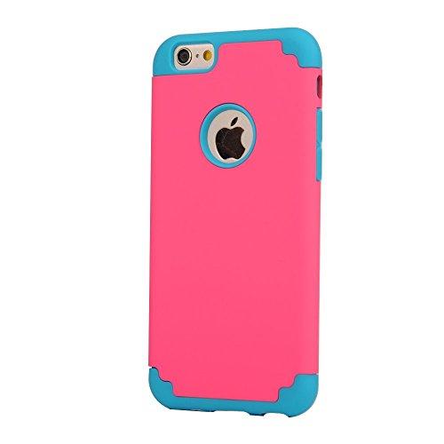 iPhone 6S Plus Case, iPhone 6 Plus Case, Lantier mince Slim Slick Armure hybride [Protection d'angle] dur antichoc double couche en silicone pour Apple iPhone 6 Plus / 6S plus de 5,5 pouces (rouge + D Black+Purple