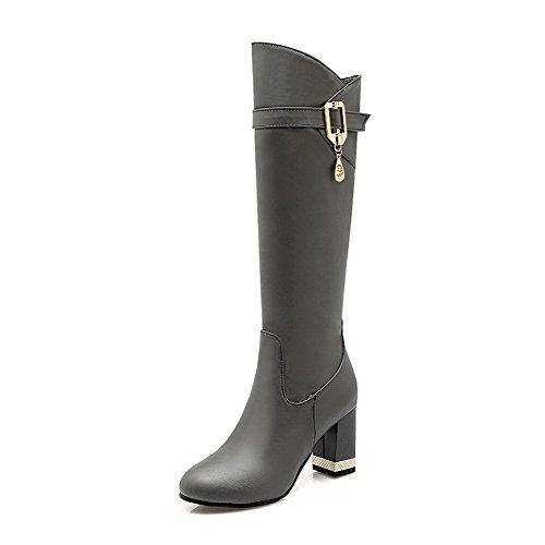 VogueZone009 Damen Rein Pu Leder Blockabsatz Reißverschluss Rund Zehe  Stiefel mit Anhänger Grau