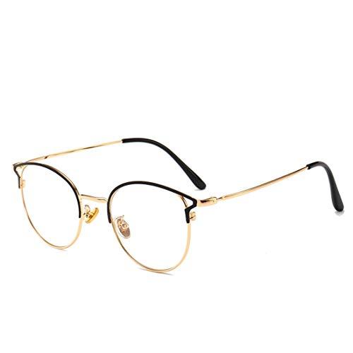 Anglayif Anti-Blau-Metall-Brille Rahmen weibliche Cat Eye Anti-Strahlung Brille Rahmen Nicht Brillen Männer (Color : Gold)