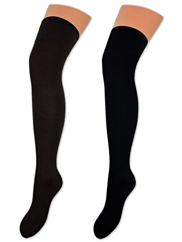 2 Paar Overknee Strümpfe Baumwolle Socken Overknees in vielen Farben - 10723 (35-38, Braun & Schwarz)