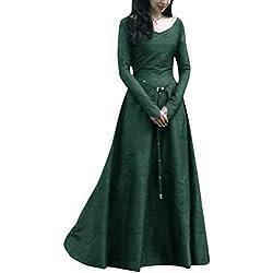 PengGengA Disfraz De V Cuello En V Medieval para Mujer Vestido Largo Manga Larga Vintage Verde 5XL