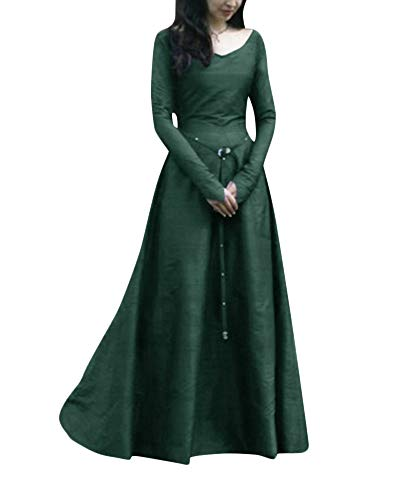 Penggenga donne abito medievale cosplay costume fancy dress maxi abiti verde s