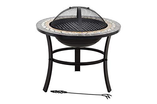 8252 Feuerstelle mit Grill, Stahl und Keramik, Mosaik, Schwarz/Orange/Grau ()