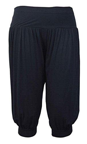Purple Hanger - Damen Ali Baba Harems Hose Stretch Weite Hosen Kurz Shorts Übergrößen - 48-50, Schwarz