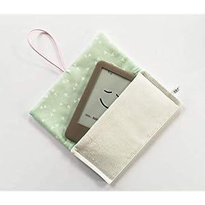 Schutzhülle für ereader oder kleines Tablet/Hülle für Lasegerät/Etui, Tasche, Cover, Sleeve, Bag/Kindle, Tolino, Feuer 7, Kobo. Kleines Geschenk für Mädchen Frauen. Weiß - Mintgrün