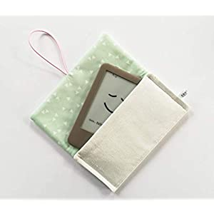 Schutzhülle für ereader oder kleines Tablet/Hülle für Lasegerät/Etui, Tasche, Cover, Sleeve, Bag/Kindle, Tolino, Feuer 7, Kobo. Kleines Geschenk für Mädchen Frauen. Weiß – Mintgrün