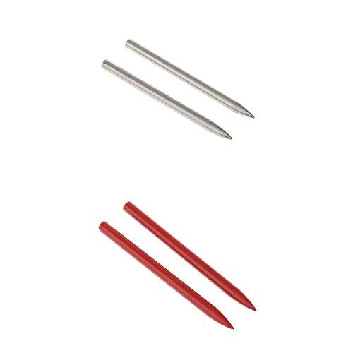 Générique MagiDeal 4pcs en Acier Inoxydable Paracord FID Aiguilles Corde Bracelets Artisanat Faire 78 Longueur Rouge Argent