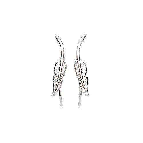 Tapsi´s Coolbodyart®| Ohr Klemme Manschette Rhodium, Tribal Feder Silber