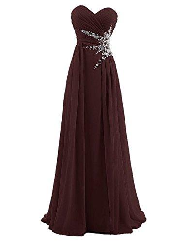 Dresstells, Robe de soirée Robe de cérémonie Robe de gala mousseline longueur ras du sol avec paillettes Bordeaux