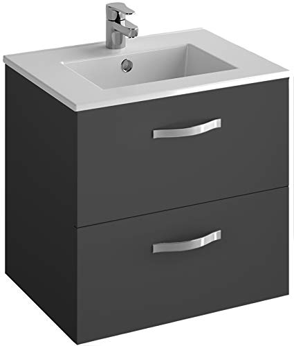 Jacob Delafon EBP1340-N02 Ensemble Ola 60cm plan-vasque et meuble 2 tiroirs-Mélaminé Gris anthracite, céramique, 60 cm