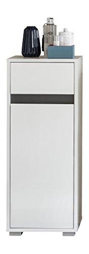 trendteam SL Badschrank Badkommode   Hochglanz Weiß   35 x 89 cm