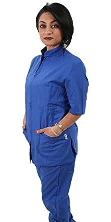Petersabitidalavoro Divisa da Lavoro Completa Blu Royal con Zip Collo Coreano Ospedaliera Estetica Massaggi Cotone Made in Italy (s)