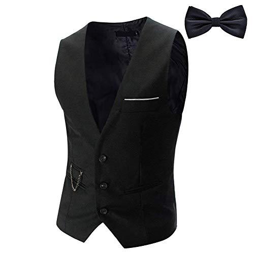 YaoDgFa Herren Weste Anzug + Fliege Smoking Sakko Anzugweste Herrenweste Herrenanzug slim fit Hochzeit feierlich Elegant, Schwarz, XL