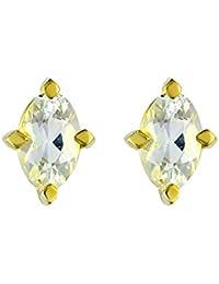 Ivy Gems - Pendientes de oro amarillo con aguamarina (.46)