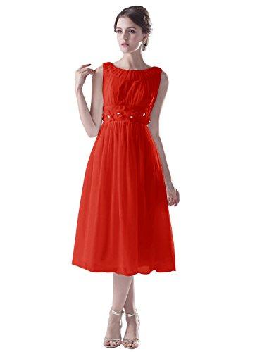 Dresstells, Robe de demoiselle d'honneur Robe de soirée de cocktail mousseline col rond sans manches Rouge