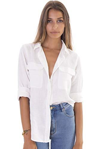 CAMIXA 100% Leinenhemd für Damen, Casual Basic Bluse mit Taschen, Loose Top L Weiß