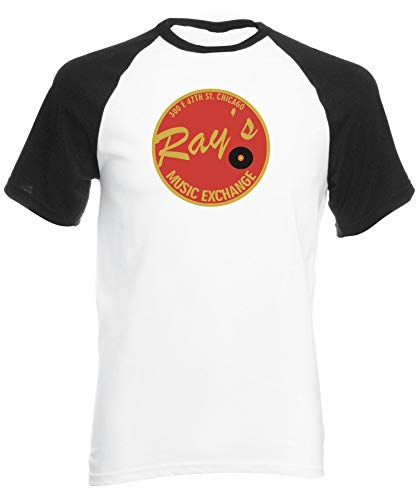 Reality Glitch Ray's Music Exchange Mens Short Sleeve Baseball T-Shirt (Medium, White/Black) -