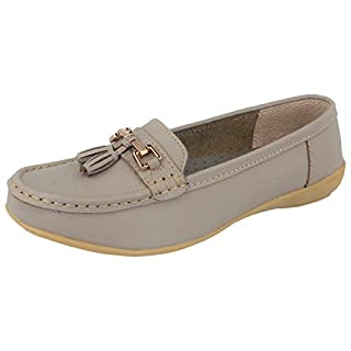 Ladies Real Leather Tassel Slip On Moccasin Flat Nautical Boat Shoes Loafers Size 3-8 (5 UK, Mushroom Wide)