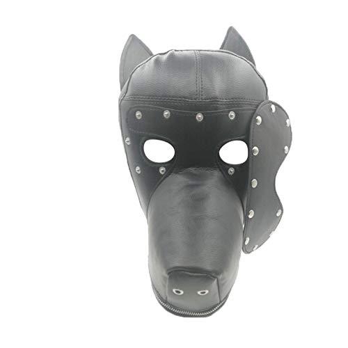 SM Hundekopf PU Leder Maske Paar Charakter Flirt Hut Maskerade Party Prop Maske, Kopfbedeckung Rollenspiel Tier Cosplay Neuheit Kostüm (Paare Spaß Halloween-kostüme Einfach)