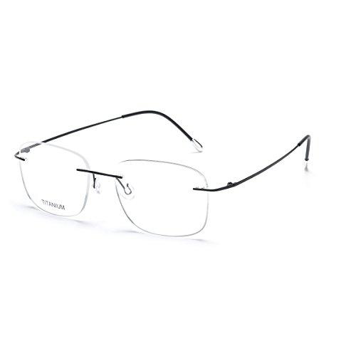 Schwarze Randlose Brillen (DUKEROY Herren Brillengestell schwarz mattes schwarz)