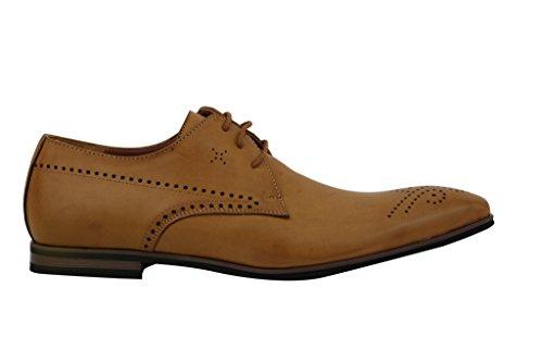 Mens nuovo nero marrone in pelle Smart Casual Formal con lacci Derby, Scarpe taglia 67891011 Tan