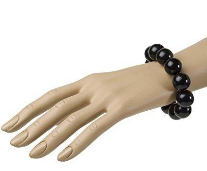 Sancto 70er Disco Perlen-Armband schwarz Einheitsgröße
