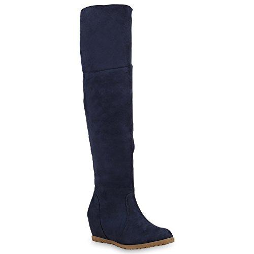 Damen Stiefel Overknees Keilabsatz Boots Schuhe 127669 Dunkelblau 40 Flandell