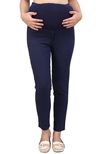 MomToBe Women's Linen Maternity Trouser, Navy Blue