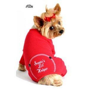 DoggieDesign Weihnachtlicher Schlafanzug für Hunde, Bestickt, Baumwolle