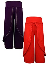 Lil Orchids Girls Pack of 2 Beige and Royal Color Harem Pant(LO-2PCK-HARM-PANT-CMB-10-0-6M_Multi_0-6M)