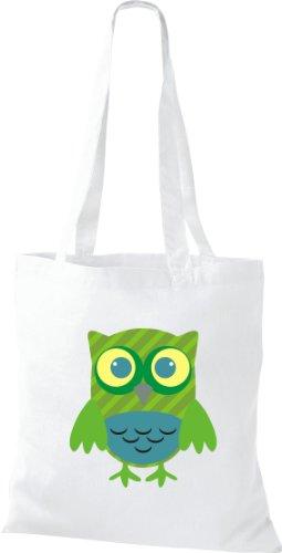 Stoffbeutel Bunte Eule niedliche Tragetasche mit Punkte Karos streifen Owl Retro diverse Farbe weiss